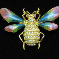 GRAZIANO Vintage Brooch Pin French Enamel Rhinestone Figural Insect