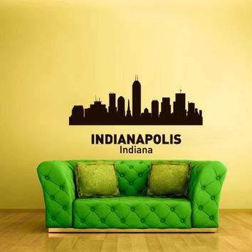 Wall Vinyl Sticker Decals Decor Art Bedroom Design Mural Words Sign Town City Skyline Indianapolis Indiana (z3059