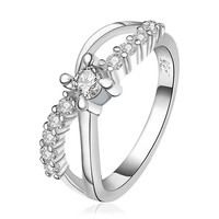 silver plated stamp Insets 8word White Gem rings the lord of rings silver plated ring