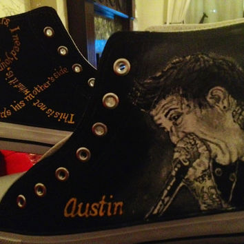 Hand Painted Hi Tops Of Mice & Men, Pierce the Veil, Bullet for my Valentine, Bring me the Horizon etc...
