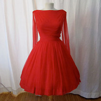 Dazzling 1950's red chiffon party dress with wings by wearitagain