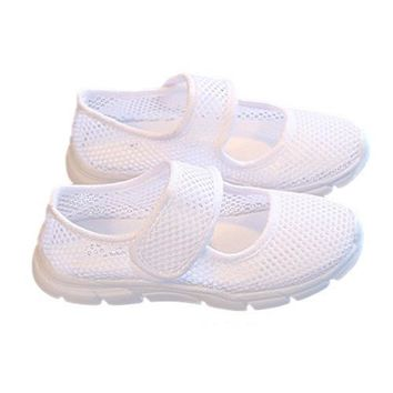 ABWE Best Sale a pair of Kids Breathable Mesh Childrens Shoes Single Net Cloth Sports