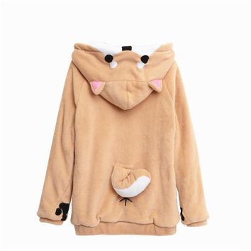 Women Cosplay Shiba Inu Cosplay Tops Girl Sweatshirt Anime Hoodies Soft Hooded Dog Coat Mujer Jacket Feminina Outwear Knitwear