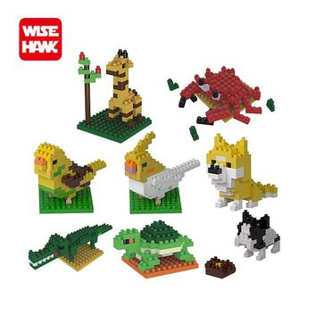 Wisehawk hot nano blocks kawaii animal mini dog turtle bird 3d diy model plastic building bricks educational toys for kids.