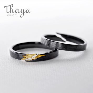 Thaya 100% s925 silver Gold Crack Ring Ancient Black Wood Grain Design Female Finger Ring Stackable for Women Fine Jewelry