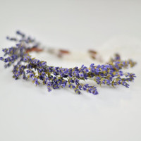 Lavender Bridal Bracelet Wrist Corsage - Real Dried Fragrant Flowers