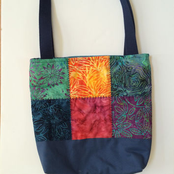 Batik quilted tote, quilted bag, quilted purse
