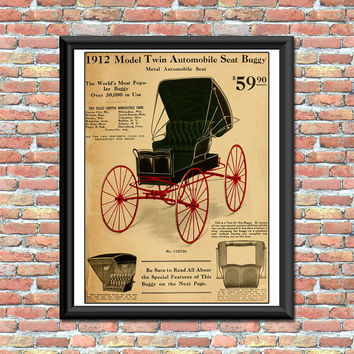 Antique Buggy Carriage Art Print Catalog Advertisement Page Primitive Rustic Transportation Digital Download Wall and Home Decor Printable