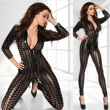 M-XL Sexy Hollow Out Bodysuit Latex PVC Jumpsuit Women Pole Dance Costumes Zipper Fetish Leather Catsuit Nightclub Bodysuit