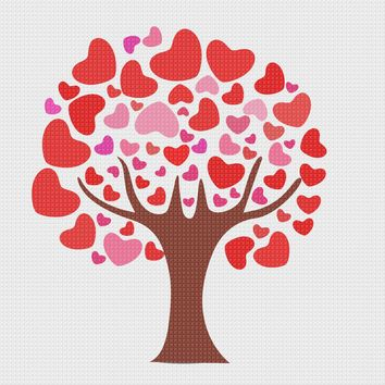 Valentine Day Love  Tree of Hearts Sew So Simple ™ Counted Cross Stitch or Counted Needlepoint Pattern