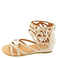 City Classified Strappy Cut-Out Ankle Cuff Sandals - Stone