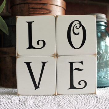 Valentine LOVE Letters Shelf Sitter Blocks Sign Wedding Decor Painted Wood Bride and Groom