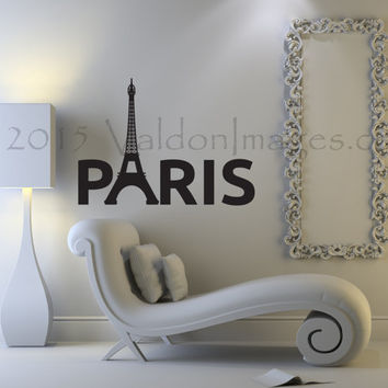 Eiffel Tower wall decal, Paris wall decal, living room wall decal, France wall decal, bedroom wall decal, apartment decor, Paris sticker