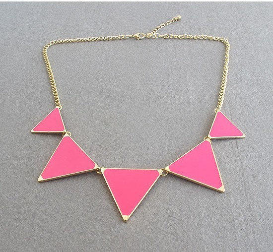 Triangle necklace, geometric necklace, pink Triangle necklace, ON SALE
