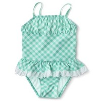Circo® Infant Toddler Girls' 1-Piece Gingham Check Swimsuit
