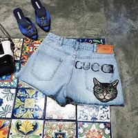 '' Gucci '' Woman Fashion A pair of jeans Shorts