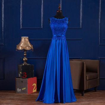 vestidos longos de festa madrinha casamento 2017 new Lace and satin royal blue bridesmaid dress plus size Cheap robe de mariage