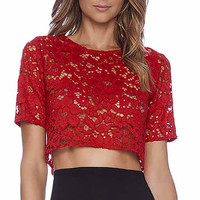 Red Lace Short-Sleeve Crop Tank Shirt