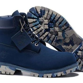 ONETOW UK Timberland Men Navy-Blue 6 Inch Premium Camo-Outsole Boots