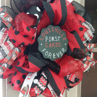 Louisville Cardinals Wreath UofL Louisville First Cards Forever Chalkboard Small Louisville Wreath Louisville Cardinals Tailgating L1C4