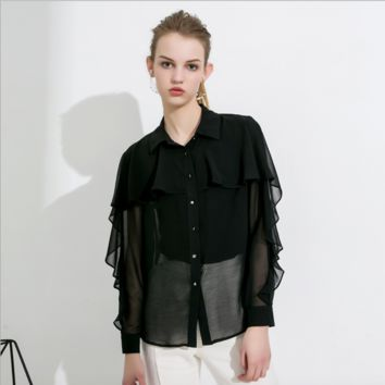 Sexy Crew Neckline Long Sleeves Button Up Mesh Detailing Shirt