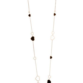 Chopard - Happy Hearts 18-karat rose gold, diamond and onyx necklace