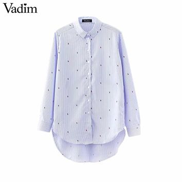 Women cute insect print long striped blouse long sleeve buttons shirts turn down collar ladies office wear tops blusas LT1575