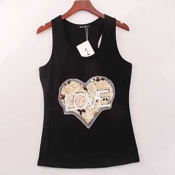 2 Colors Summer Style Tank Top LOVE HEART Sequined Sequins Vest Women Tops Sexy Hot Round Neck Racer Back Camisole Woman