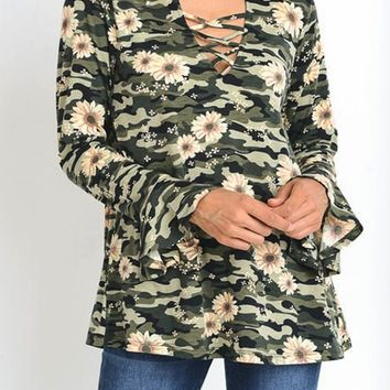 Camouflage with Floral Print top with long bell sleeves