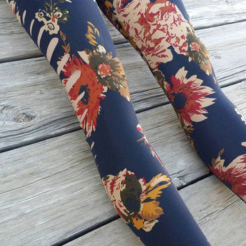 Navy Floral Cut Out Leggings One Size Fits Most