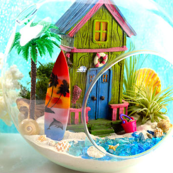 Beach House Terrarium Kit ~ XLarge Glass Terrarium Kit with Air Plants ~ Beach Decor ~ Surfboard ~ Beach Terrarium Kit ~ Beach Scene ~ Gift
