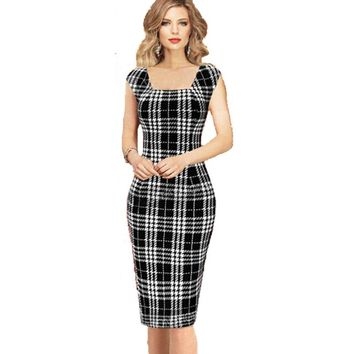 New Arrivals Women Dresses Fashion Black Plaid Sexy Club Dress Knee Length Sleeveless Casual Dress