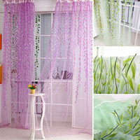 Sheers curtains Willow leaf Tulles 3d Window Sheer Curtains for Living Room cortinas curtains for Bedroom Kitchen