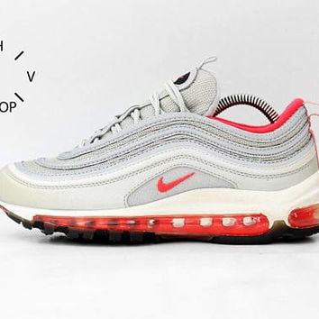 Vintage Nike Air Max 97 sneakers / Vintage Silver Bullet Pink Trainers / Deadstock Athletic Shoes / Womens Kids sneakers kicks / Supreme OG