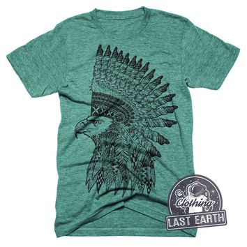 Eagle HeadDress T-Shirt Vintage Graphic Art Tshirt Mens Eagle Shirt Womens Headdress Tee Shirt Cool Tshirts Gifts Unisex Tri Blend Shirt