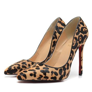Christian Louboutin Fashion Edgy Leopard Pointed Red Sole Heels Shoes