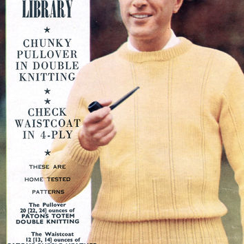 Actual 1950's Vintage Pattern - Chunky Pullover And Check Waistcoat / Knitted Vest - Men Knitting Pattern - 4 Ply