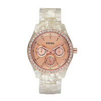 FOSSIL®  : Stella Resin Watch - Pearlized White with Rose ES2887