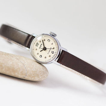 Vintage women's watch Dawn, micro watch minimalist, classic lady watch gift, watch for women small, petite watch, genuine leather strap new