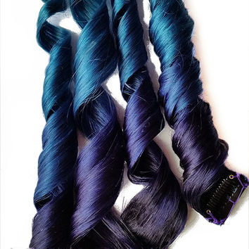Deepest Mermaid Clip in Ombre 100% Human Hair Extensions Dip Dyed Dark Purple Blue Aqua Teal Green Tie Dye