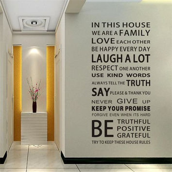 Free Shipping 60*150cm Family House Rules Vinyl Wall Decals Stickers Fashion Waterproof Wall Decor Sticker Art Lettering Mural