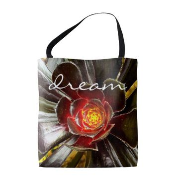 """Dream"" quote orange & black cactus photo tote bag"
