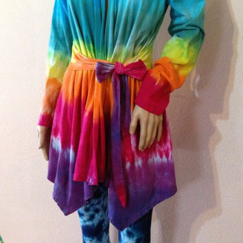 Tie Dye Wrap Sweater, Asymmetric Top, Jersey Knit Jacket, Cardigan, Hippie Clothes