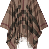 Burberry London - London checked cashmere and wool-blend cape