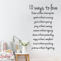 Wall Decal Vinyl Sticker Decals Art Decor Design Sign Words 10 Ways to Love Family Gift Pray Fashion Modern Bedroom Dorm (r312)