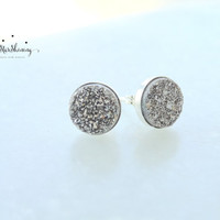 Silver Druzy Earrings Druzy Post Earrings Silver Earrings Silver Druzy Stud Earrings Silver druzy studs Drusy Earrings Drusy Studs
