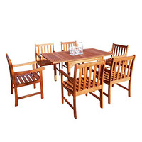 Malibu V1561SET6 Eco-Friendly 7 Piece Wood Outdoor Dining Set