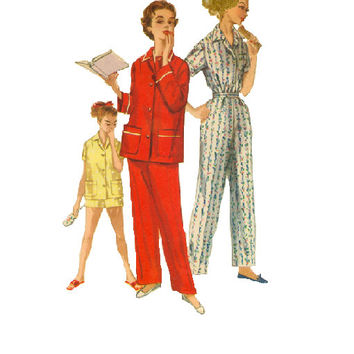 1950s Sewing Pattern Simplicity Two Piece Pajamas Sleepwear PJs Pants Top Loungewear Lingerie Bust 31