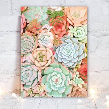 Watercolor SUCCULENT Flower Wall Art, Boho Bedroom Wall Decor, Watercolor CANVAS or Prints Succulent Boho Bathroom Decor, Single Set of 1