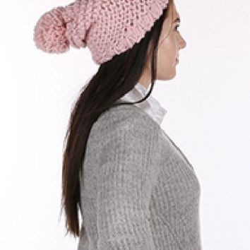 Womens cute Pretty in PINK Hat  Beanie Pom Pom Design Winter Fall Knit One Size